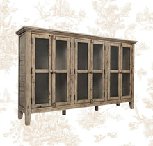 "Load image into Gallery viewer, Eau Claire 70"" Wide Acacia Wood Sideboard - Weathered Gray"