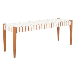 Amalia Leather Weave Bench White/Oak(1648RR)