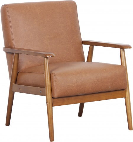 Lummus Cognac Wood Frame Upholstered Accent Chair 7480