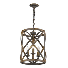 Load image into Gallery viewer, Antique Black Iron Patrice 3 - Light Unique / Statement Cylinder Pendant #9870