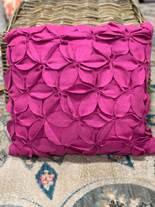 Felt Flowers Fuchsia 18 inch Pillow