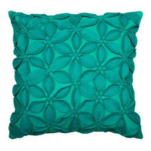 Load image into Gallery viewer, Felt Flowers Teal 18 inch Pillow
