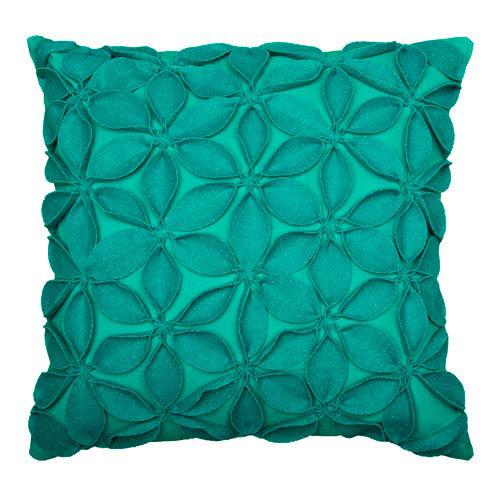 Felt Flowers Teal 18 inch Pillow