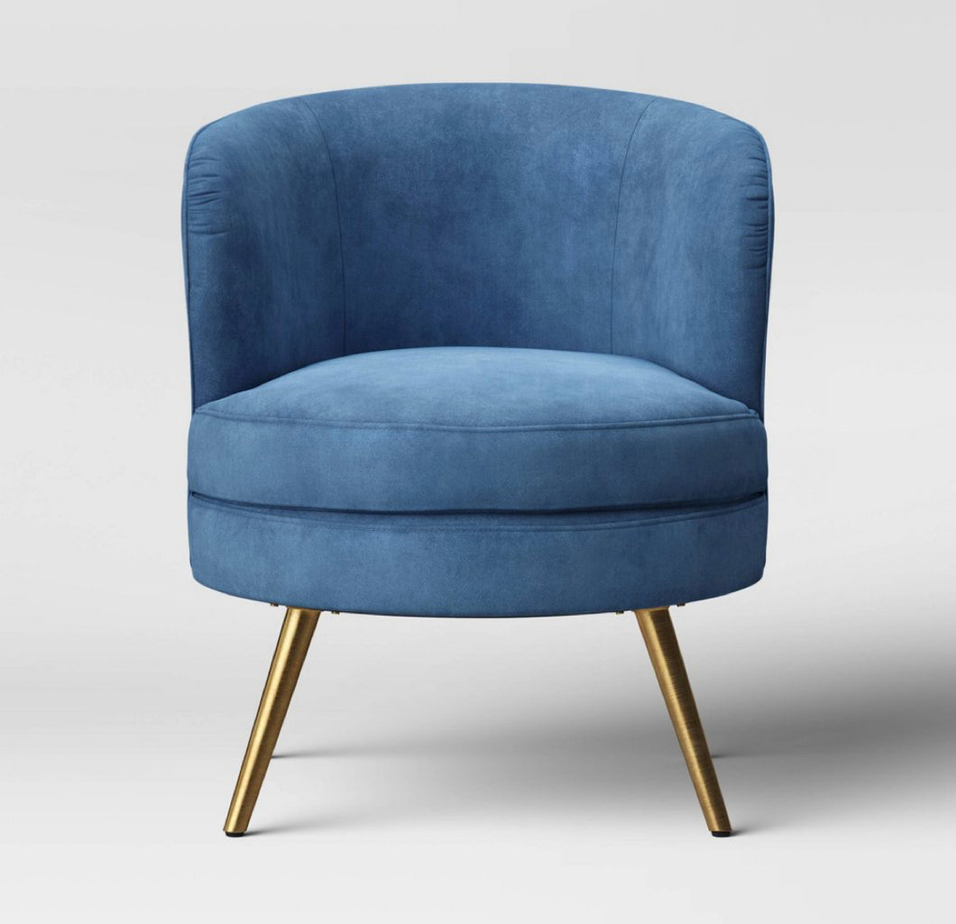Beadle Accent Chair with Brass Leg Velvet Blue #4214