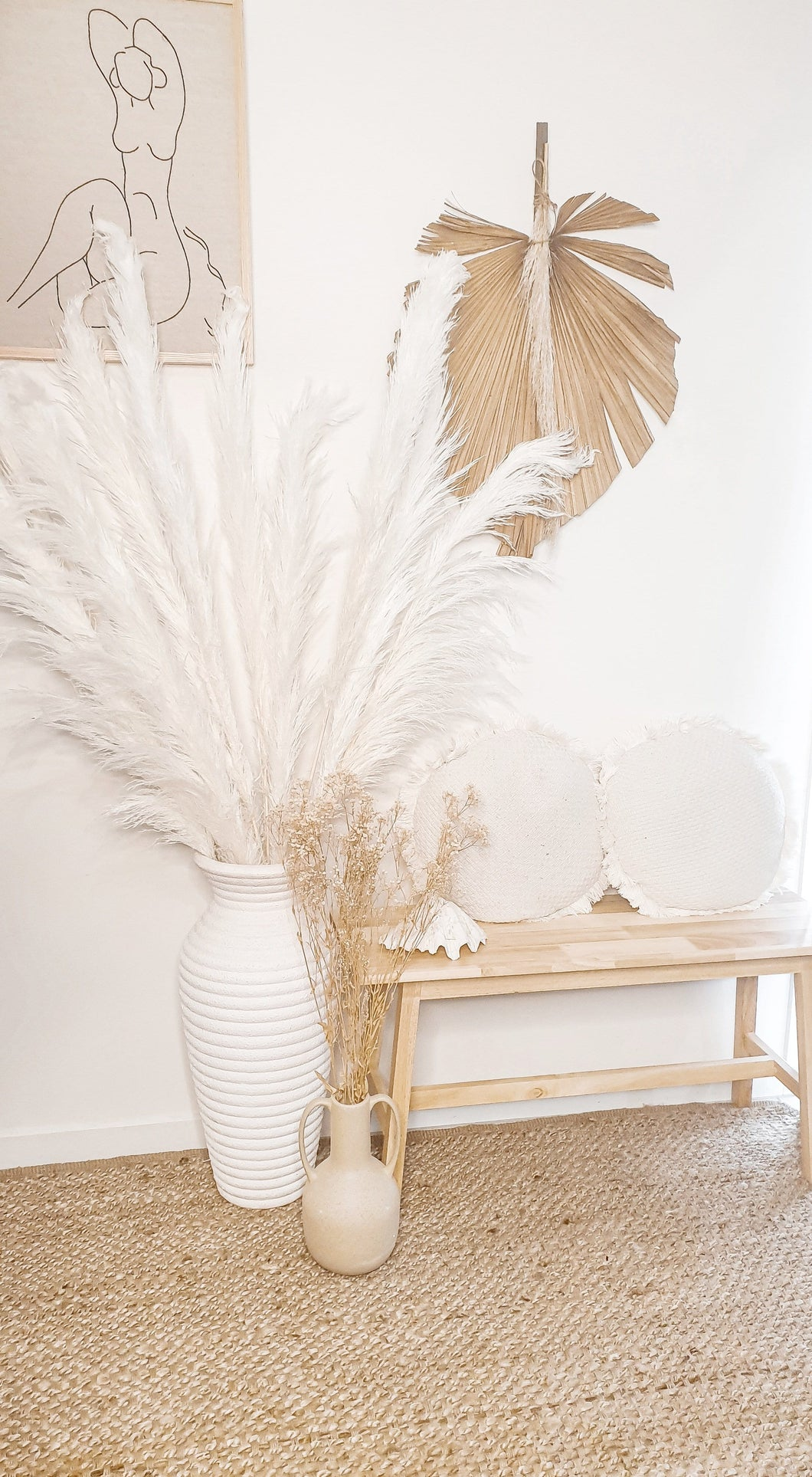 JENNA EXTRA TALL PAMPAS GRASS-  CREAM/WHITE BLEND -1-1.2M