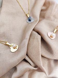 Heart Pearls | stainless steel silver / gold necklace