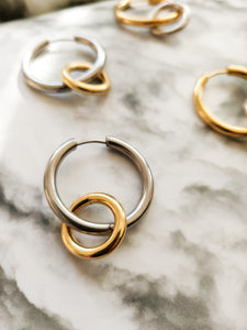 Trough Hoops | stainless steel silver / gold earrings