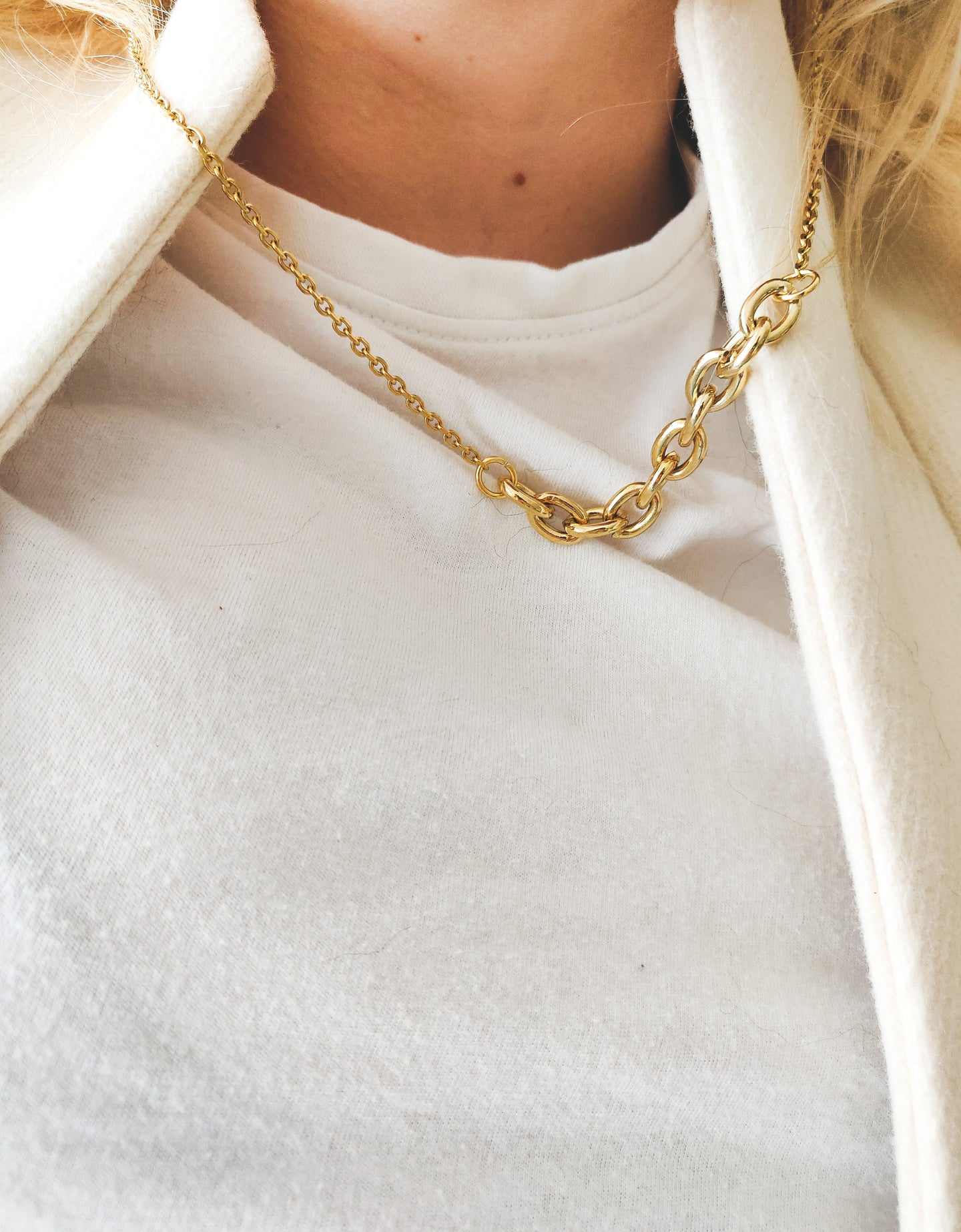 Chain on chain | stainless steel silver / gold necklace