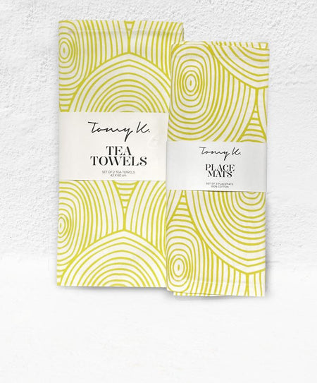 """Arc Yellow"" placemats & tea towels - Tomy K"