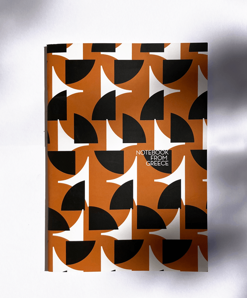 A5 notebook with printed greek themed pattern in black and brown