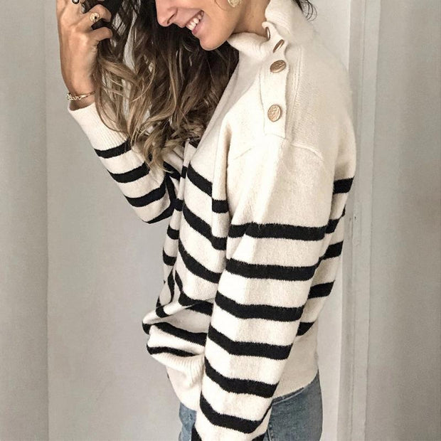 Striped Casual High-neck Sweater