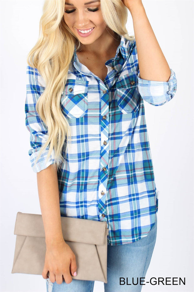 Long sleeve stand collar casual blouse