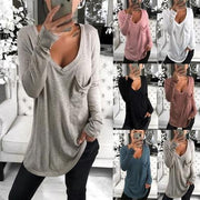 Solid V-Neck Long Sleeves Casual Knit T-shirt