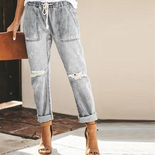 High Waisted Bleach Wash Raw Hem Skinny Jeans
