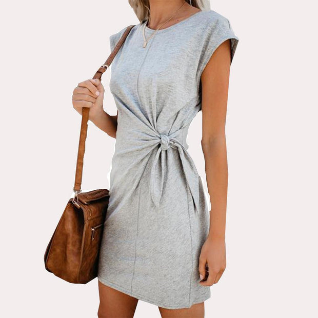Round neck lace up loose Short Sleeve Dress