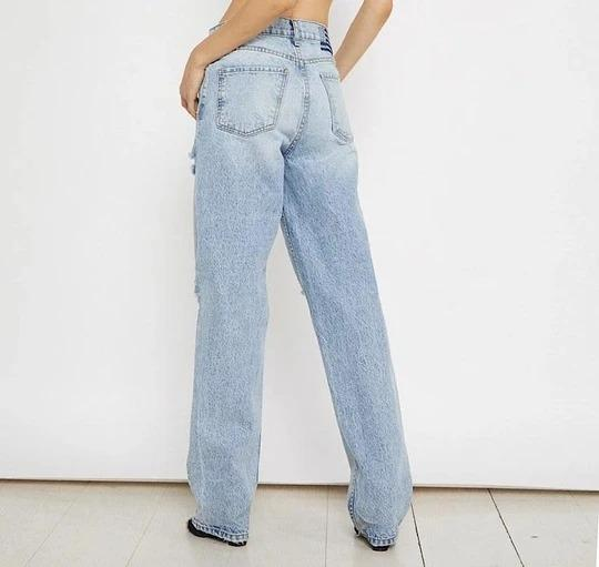 Ripped Cut Out Frayed High Waist Wide Leg Jeans