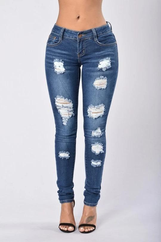 Casual High Waisted Ripped Bleached Frayed Jeans