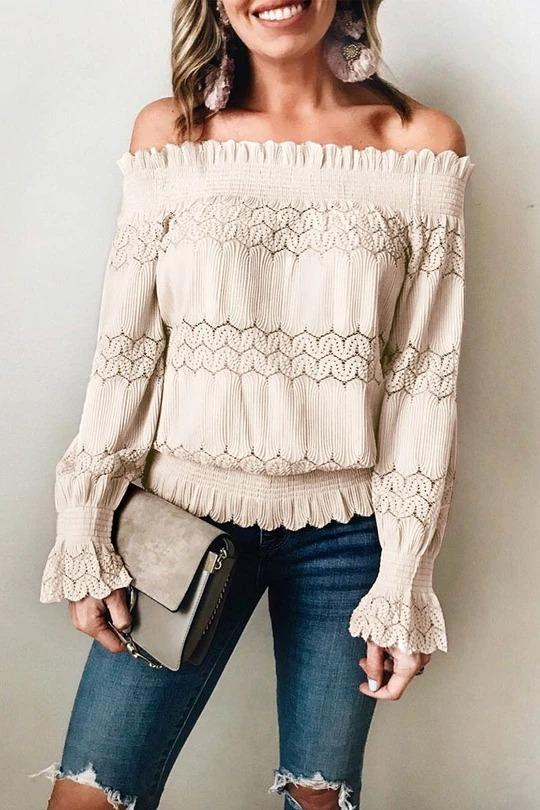 Off Shoulder Solid Hollow Out Long Sleeve Blouses - Melonpook