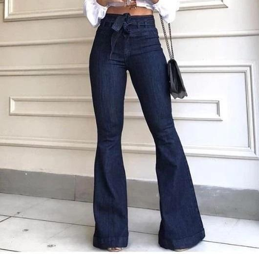 Plain Flared High Waisted Jeans