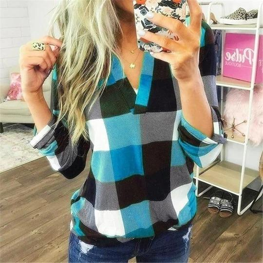 V Neck Lattice Color-blocked Long Sleeve Casual Shirt - Melonpook