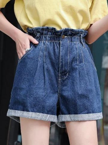 High waist elastic waist loose student a word thin section wide leg hot pants