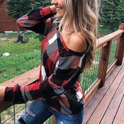 Long-sleeve off shoulder checked tops - Melonpook