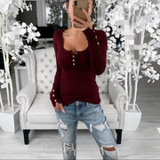 Solid Round Neck Long Sleeves Button Up Casual Sexy Knit T-shirt