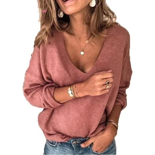 Casual Solid V-neck Long Sleeve Tops Regular price