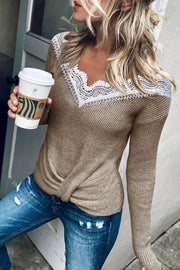 V-Neckline Color Block Casual Loose Regular Lace Sweaters