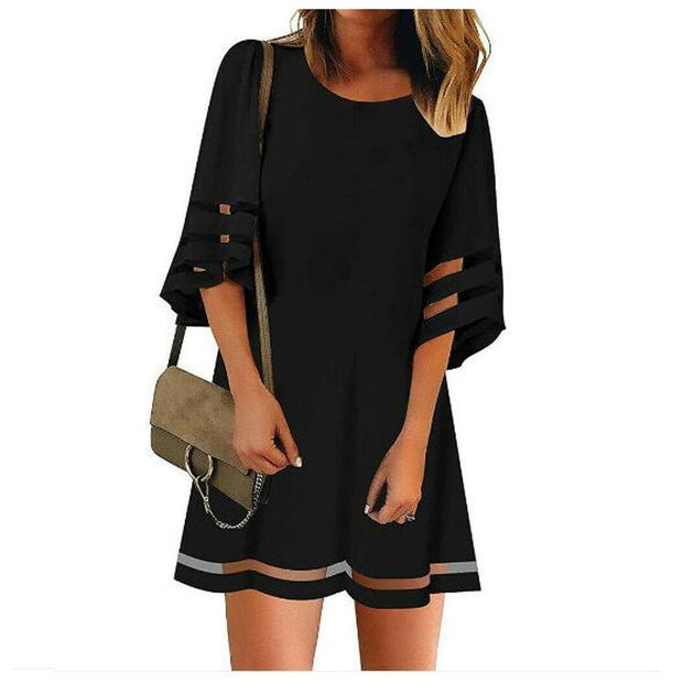 Flare Sleeve Gauze Stitching Dress