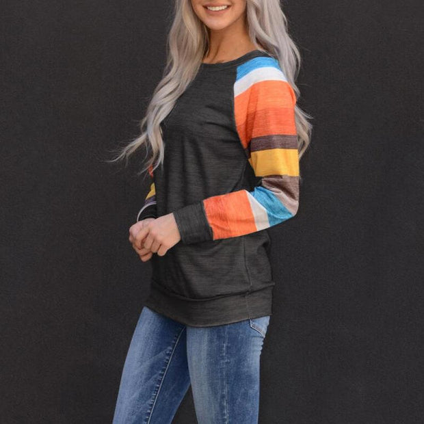 Color Block Striped O-Neck Blouse