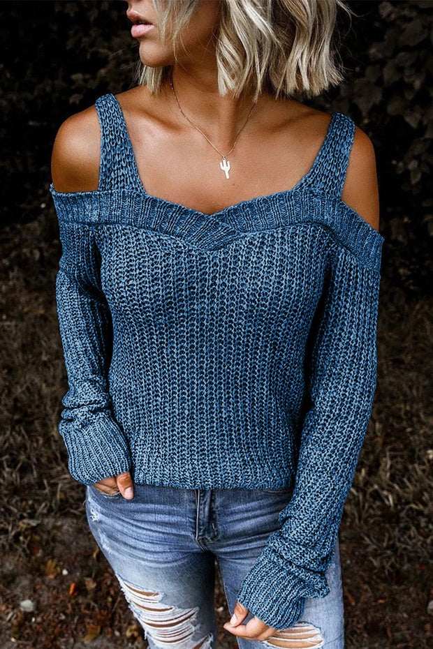 Solid Color Cold Shoulder Sweaters