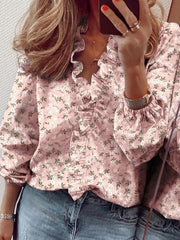 Casual Ruffled V neck Long Sleeve Shirts & Tops