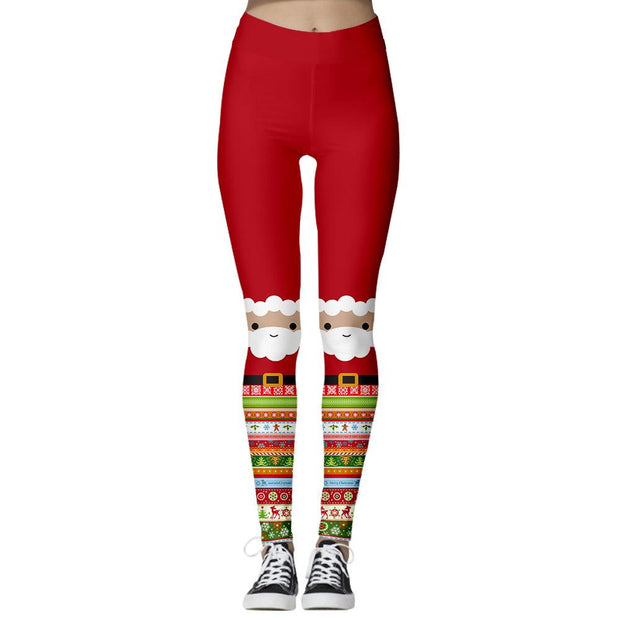 Digital Print Women's Christmas Casual Legging Pants Skinny Stretch Pants