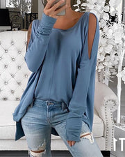 Cold Shoulder Slit Casual Top