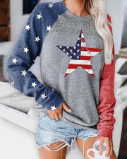 Star Flag Print Casual Sweatshirt