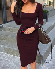 Square Neck Long Sleeve Bodycon Dress