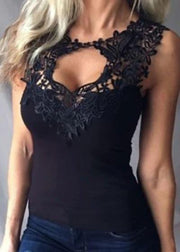 Lace stitching solid color tight bottoming vest - Melonpook