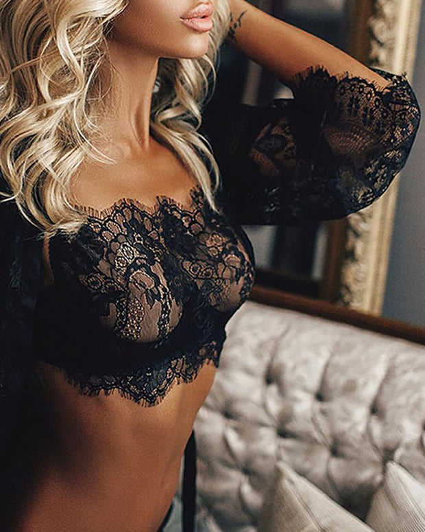 3PCS Eyelash lace Bra Top & Panty\