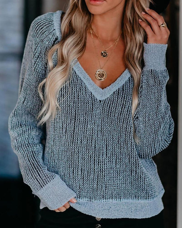 Casual V-neck Weave Knit Sweater