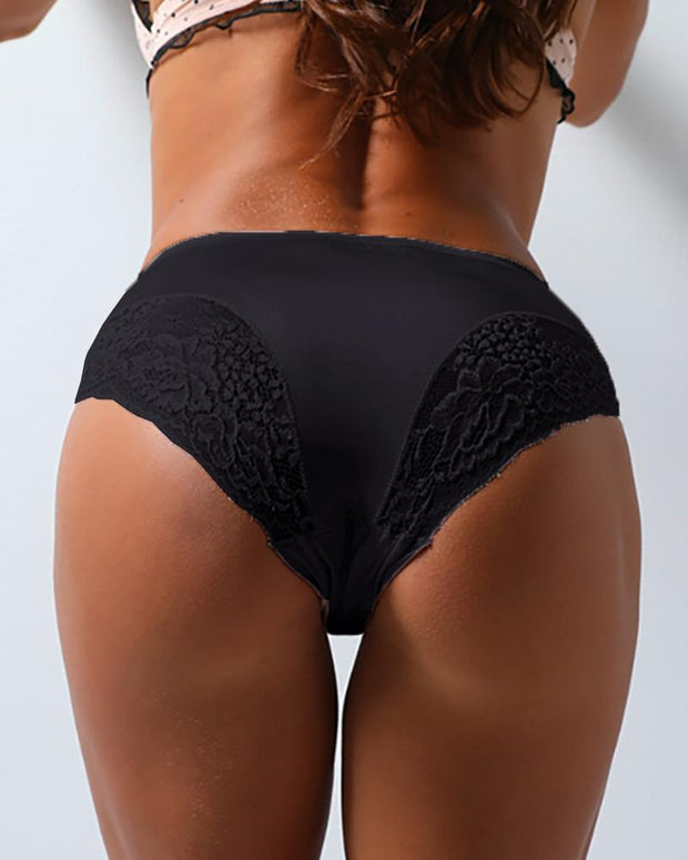 Ice Silk Crochet Lace Trim Panties