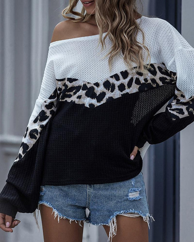 Cheetah Print Colorblock Knitted Casual Top