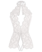 Crochet Lace Sheer Mesh Halter Teddy