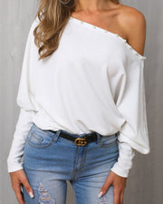 Solid Beaded One Shoulder Casual Blouse