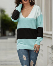 Striped Colorblock Loose Knit Sweater