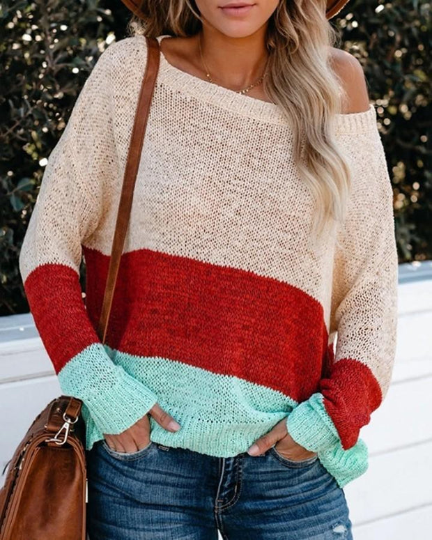 Coloblock Striped Long Sleeve Loose Sweaters