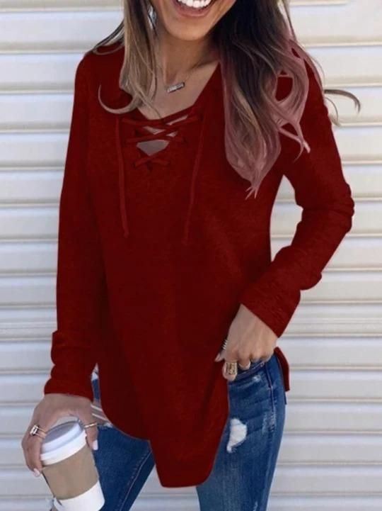 Casual Solid Crisscross Long sleeve Top - Melonpook