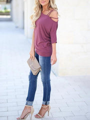 Solid Color One Shoulder Off The Shoulder T-Shirt - Melonpook