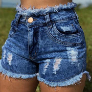 Spring and summer women's sexy denim shorts rough edges
