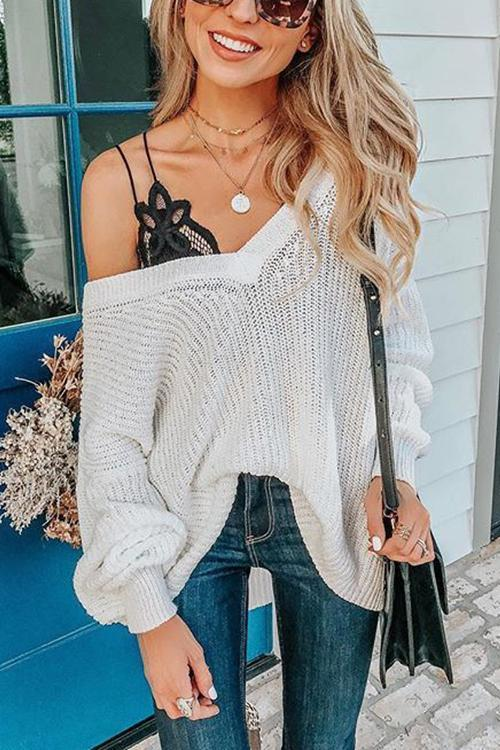 V Neck Hollow Sweater